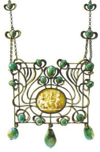 Pendant necklace, around 1915, by Marie Bedot-Diodati (1866-1958). Silver, antique Cameo, turquoises set in a closed bezel