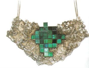 Pendant, 1962-1963, by Max Frohlich (1908-1997). Clay mold, tourmalines