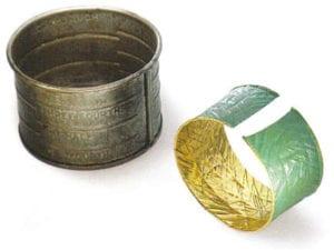 Bracelet, 2001, by Bernard Schobinger (1946). Cut gold and malachite powder
