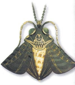 Moth pendant, i924, by Andre Lambert (1892-1985). Horn, shell, shell-fish shells and brass