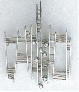 Brooch or pendant, around 1970, by Kurt Aepli (1914). White gold and diamonds