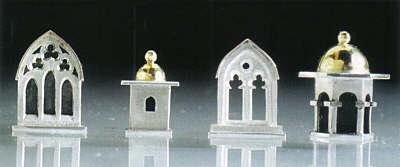 "Four Earrings, 2001 silver, gold 3/4 x 1/2"""