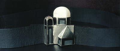 "Belt Buckle (based on Salzburg church), 1976 silver, ivory, slate 3 x 3"""