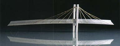 "Severn Bridge (brooch), 2003 silver, gold thread width 3 1/2"""