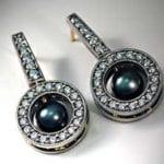 950 Palladium and Tahitian Pearl Earrings