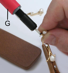The Welding Pencil Is Secured To Holder With 2 Tip G It Attached Positive Terminal Of Mini Pulse Iii