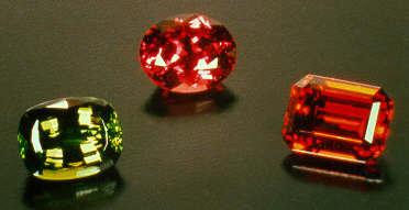 Green Tsavorite, Pink Rhodolite and Orange Spessartite