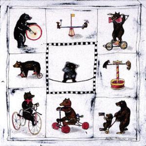 Circus for Bears by Radka Urbanova, 2005, enamel on steel, 40 x 40 cm