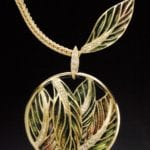 """Autumn Leaves"" 18k gold plique-a-jour necklace with transparent enamels and diamonds"