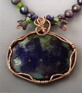 Spring. Basse taille enamel on copper, three-wire gold filled bezel, beads
