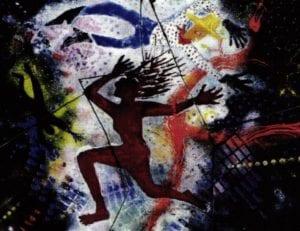 Running, Flying, Falling Dram, enamel on copper, 20x24 inches, 1994