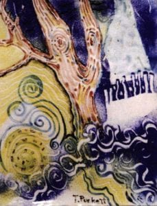 Texas Weather, enamel on copper, 15x30 inches, 1997