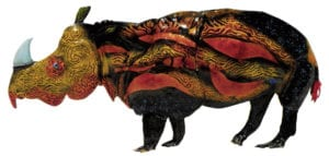 Rino on Re-Entry, enamel on copper, 12x8 inches