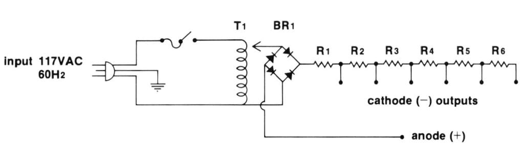 Figure 2. Pulsating DC power supply with current limit. Electrical diagram: Michael Soha