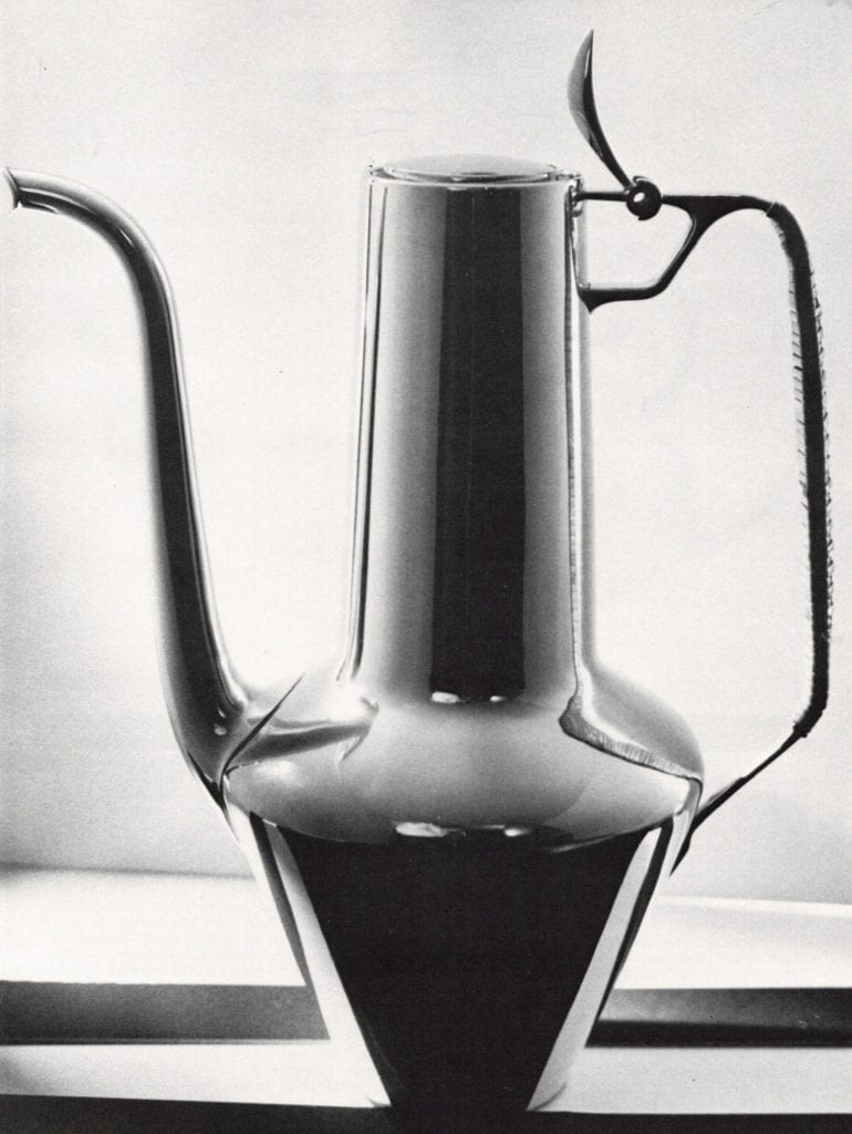 Coffee Pot, sterling with reed wrapped handle, 1953