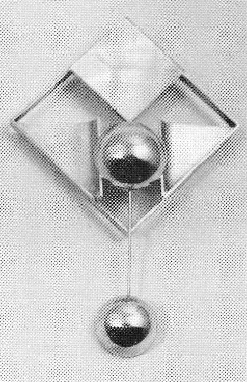 Brooch, silver gold plated with mother of pearl, 1967