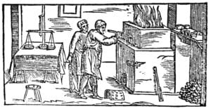 A woodcut form the original 16th century edition of Pirotechnia
